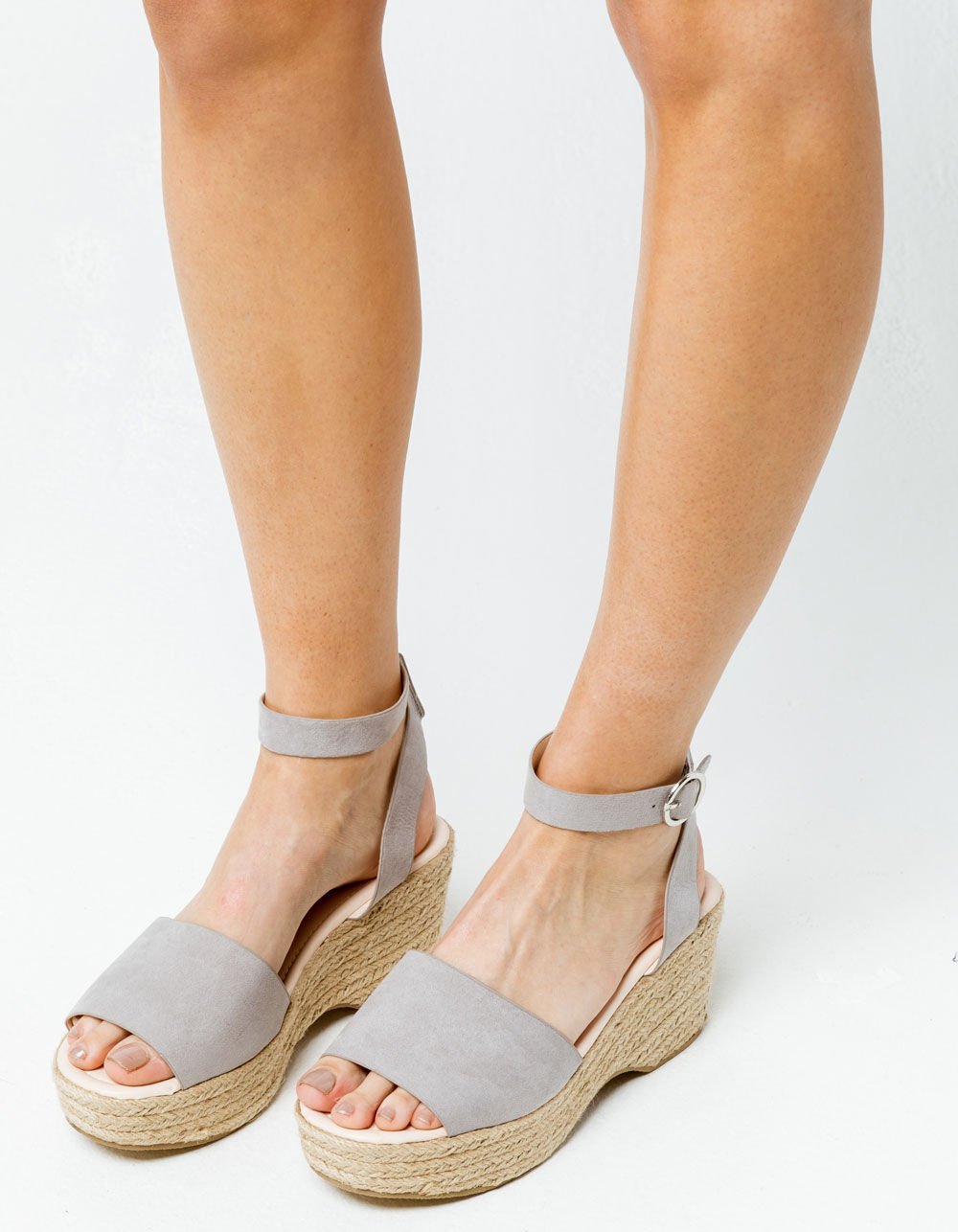 QUPID Ankle Strap Curved Espadrilles Gray Sandals