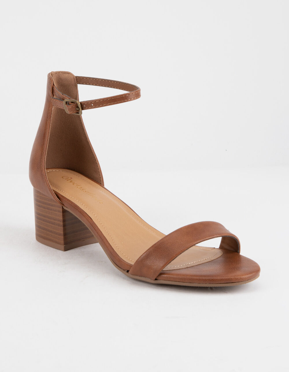 CITY CLASSIFIED Ankle Strap Stacked Tan Heeled Sandals