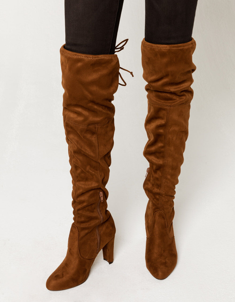 WILD DIVA Over The Knee Heeled Brown Boots