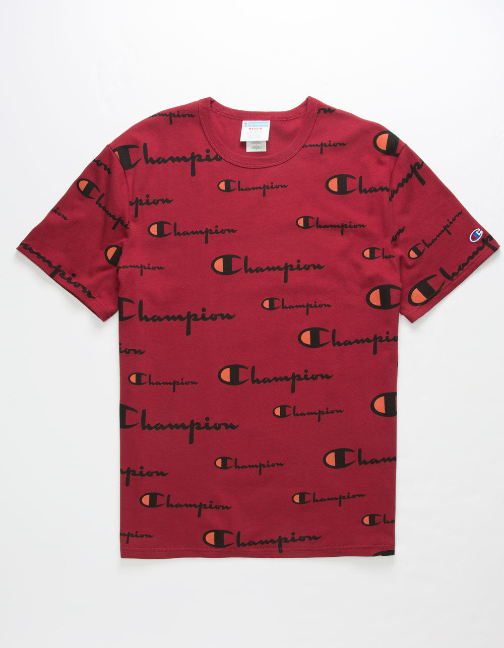 CHAMPION Script Allover Burgundy T-Shirt
