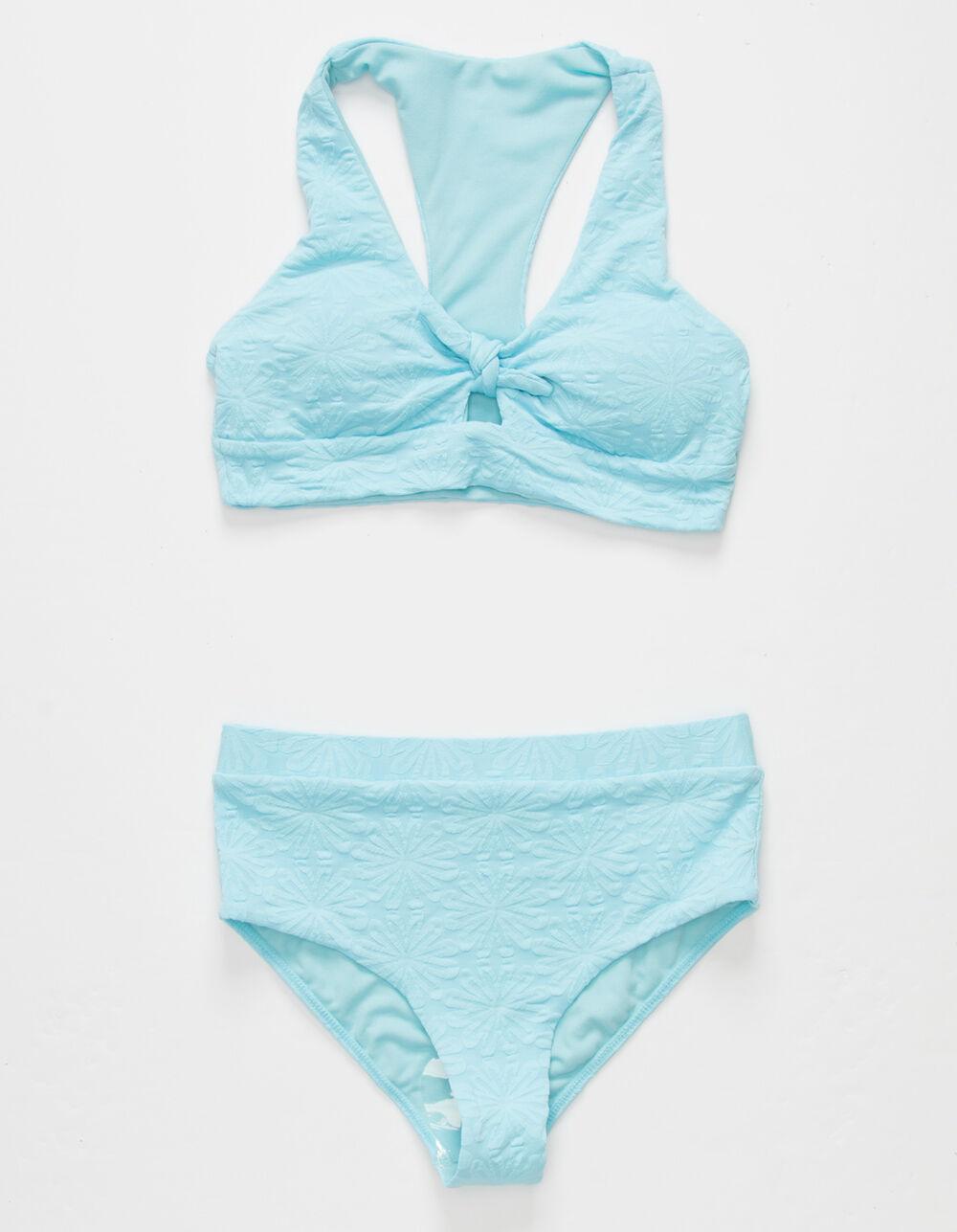 FULL TILT Knot High Waisted Girls Light Blue Bikini Set
