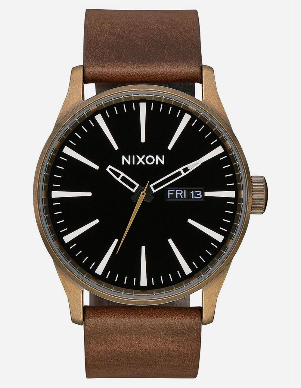 NIXON Raising The Bar Sentry Leather Black & Brown Watch