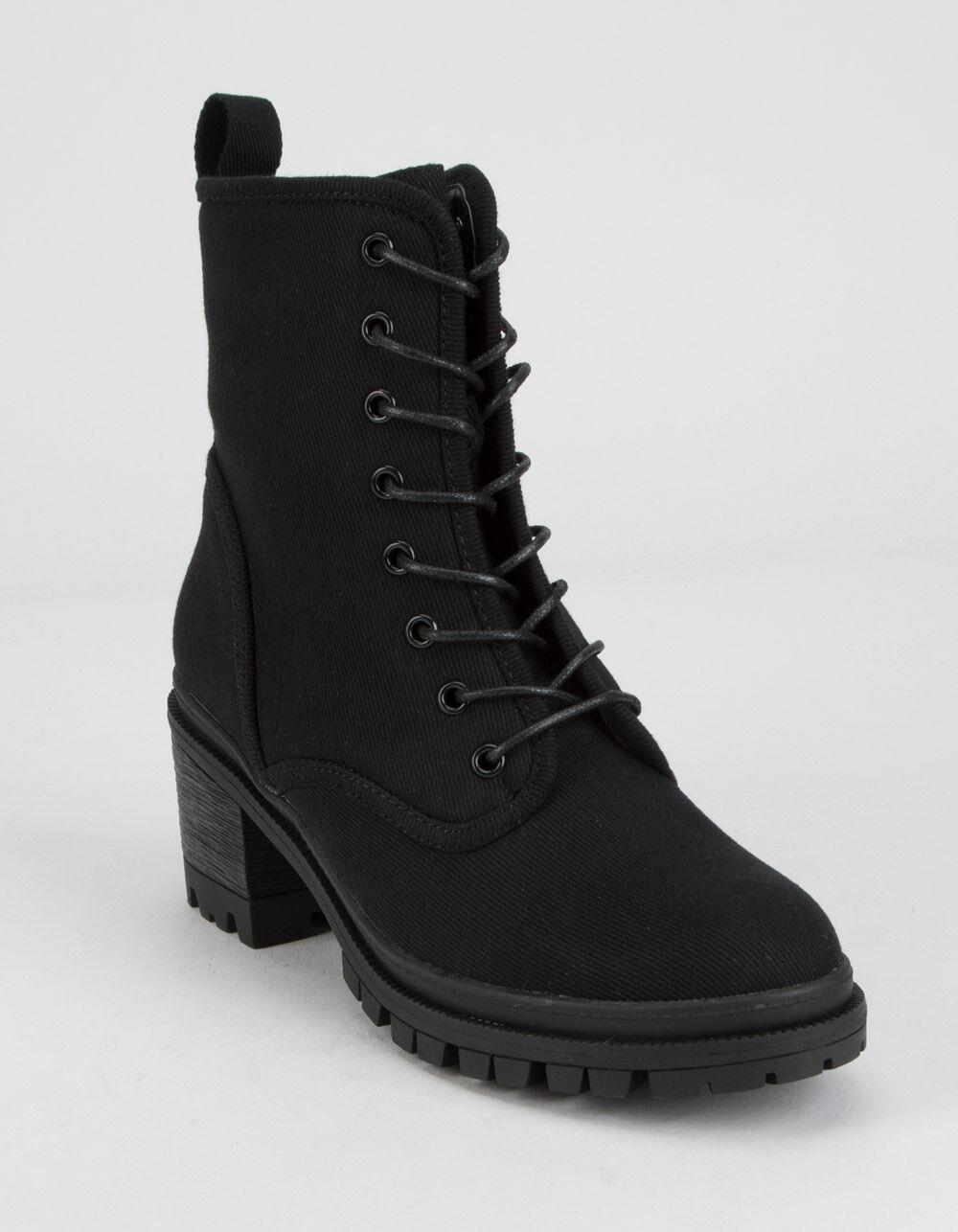 WILD DIVA Canvas Lace Up Lug Sole Black Boots