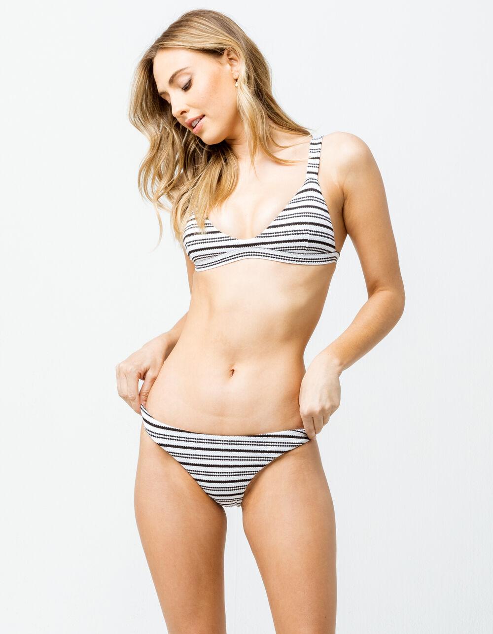 FULL TILT Textured Stripe Black & White Super Cheeky Bikini Bottoms