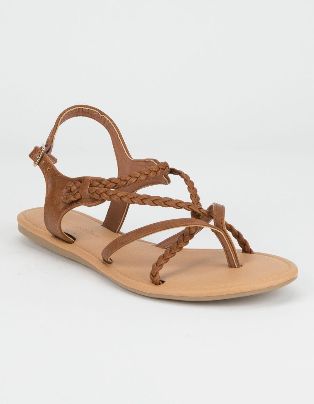 WILD DIVA Braid Ankle Strap Tan Sandals