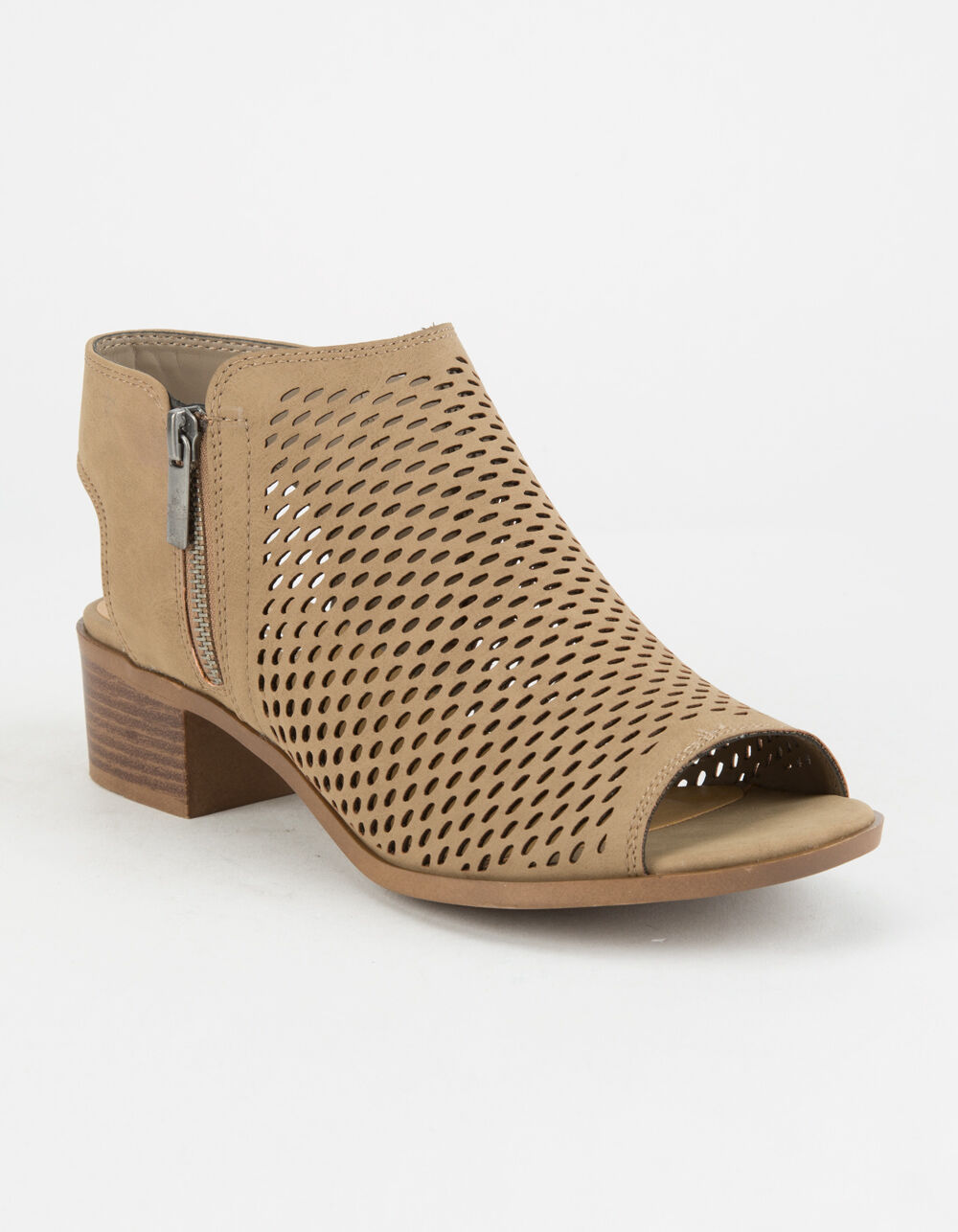 SODA Perforated Block Heel Taupe Booties