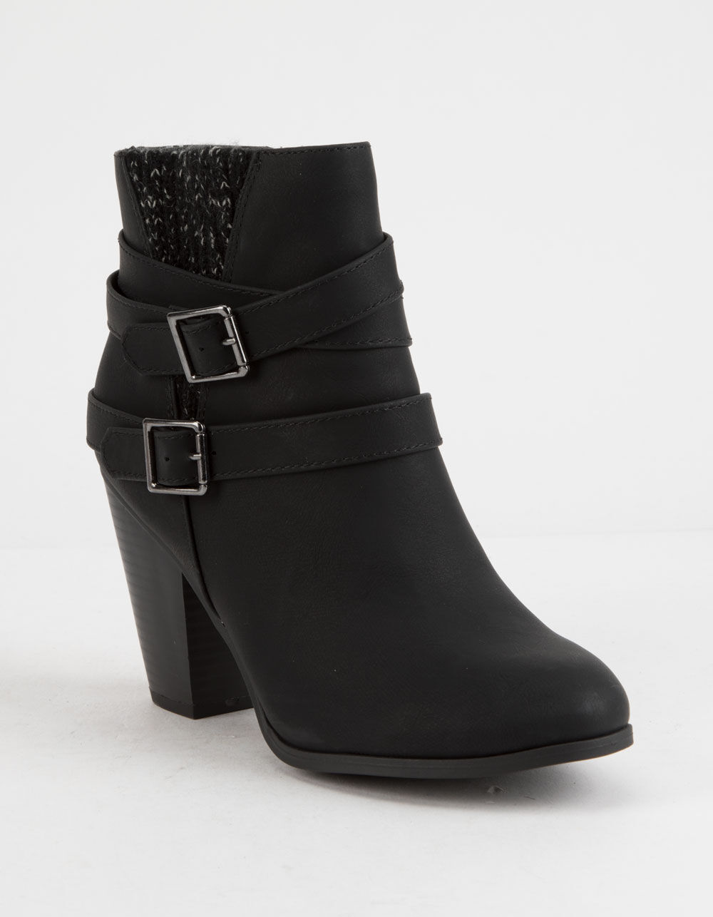 SODA Sweater Knit Block Heel Black Booties