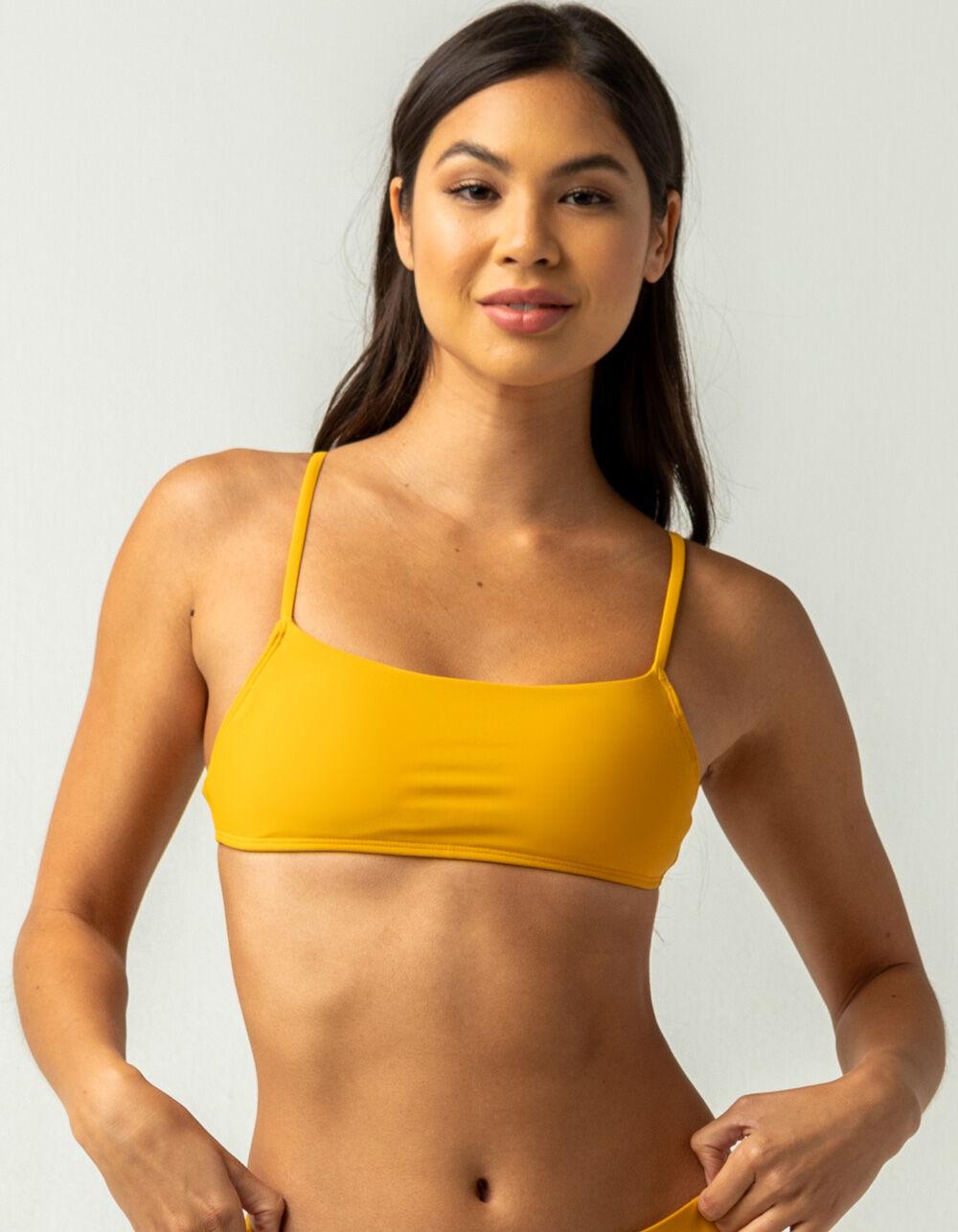 FULL TILT Square Neck Mustard Bralette Bikini Top