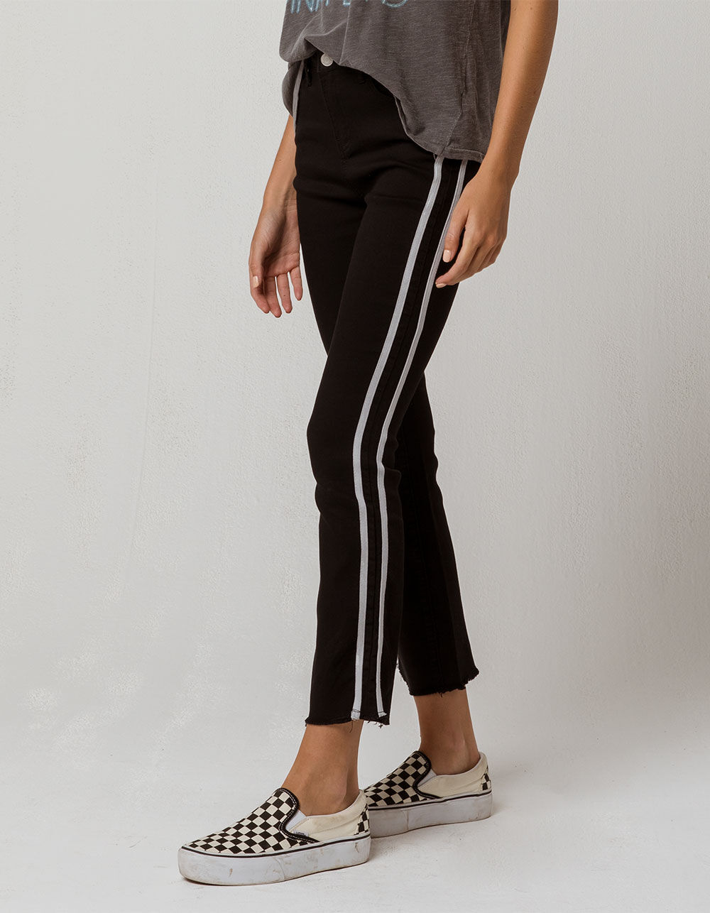 SKY AND SPARROW Side Stripe Crop Flare Jeans