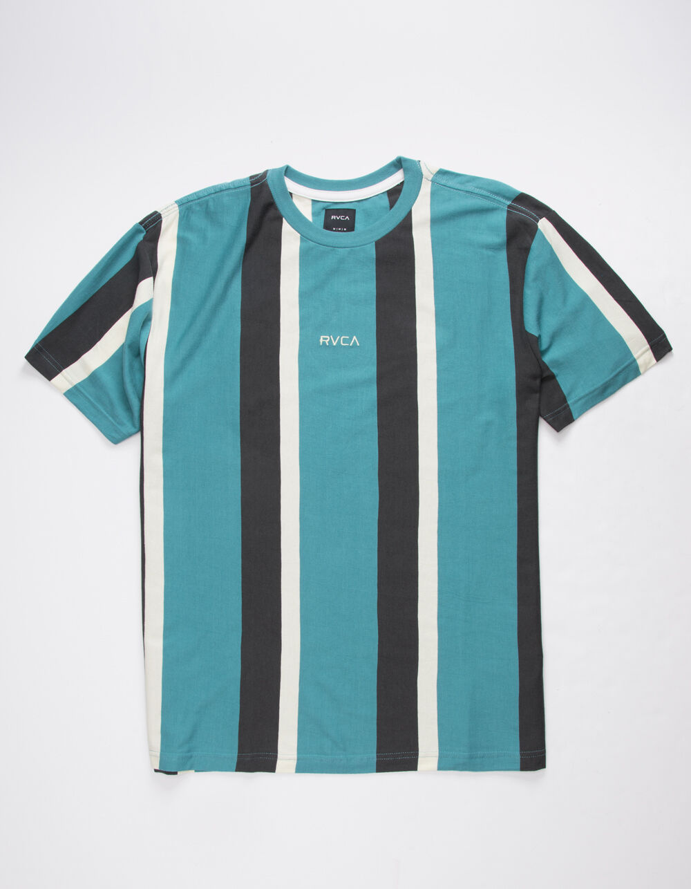 RVCA Surrender Stripe Teal Blue T-Shirt