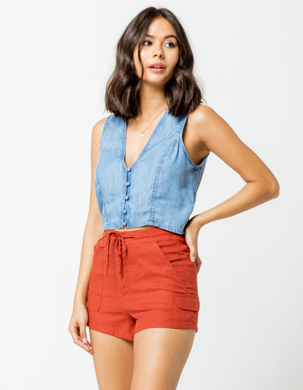 SKY AND SPARROW Linen Utility Shorts