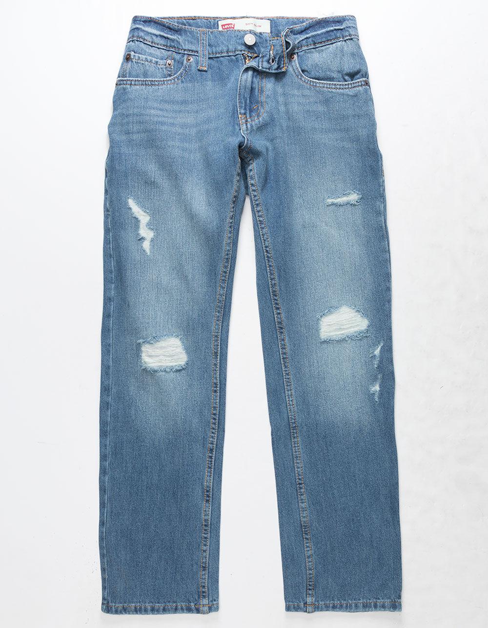 LEVI'S 511 Slim Warp Stretch Dark Wash Boys Ripped Jeans