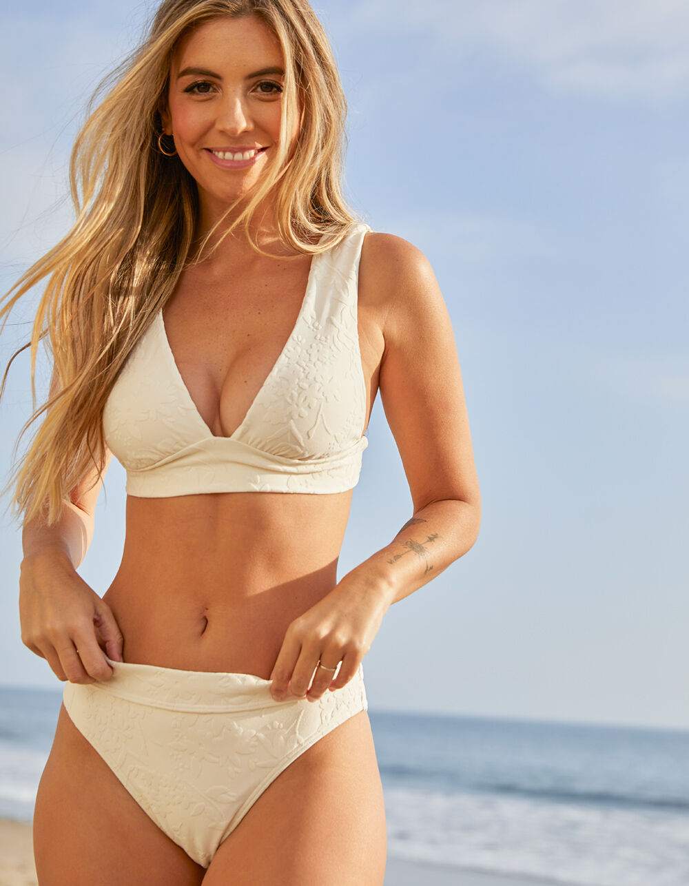 BILLABONG Fade To White Maui Bikini Bottoms