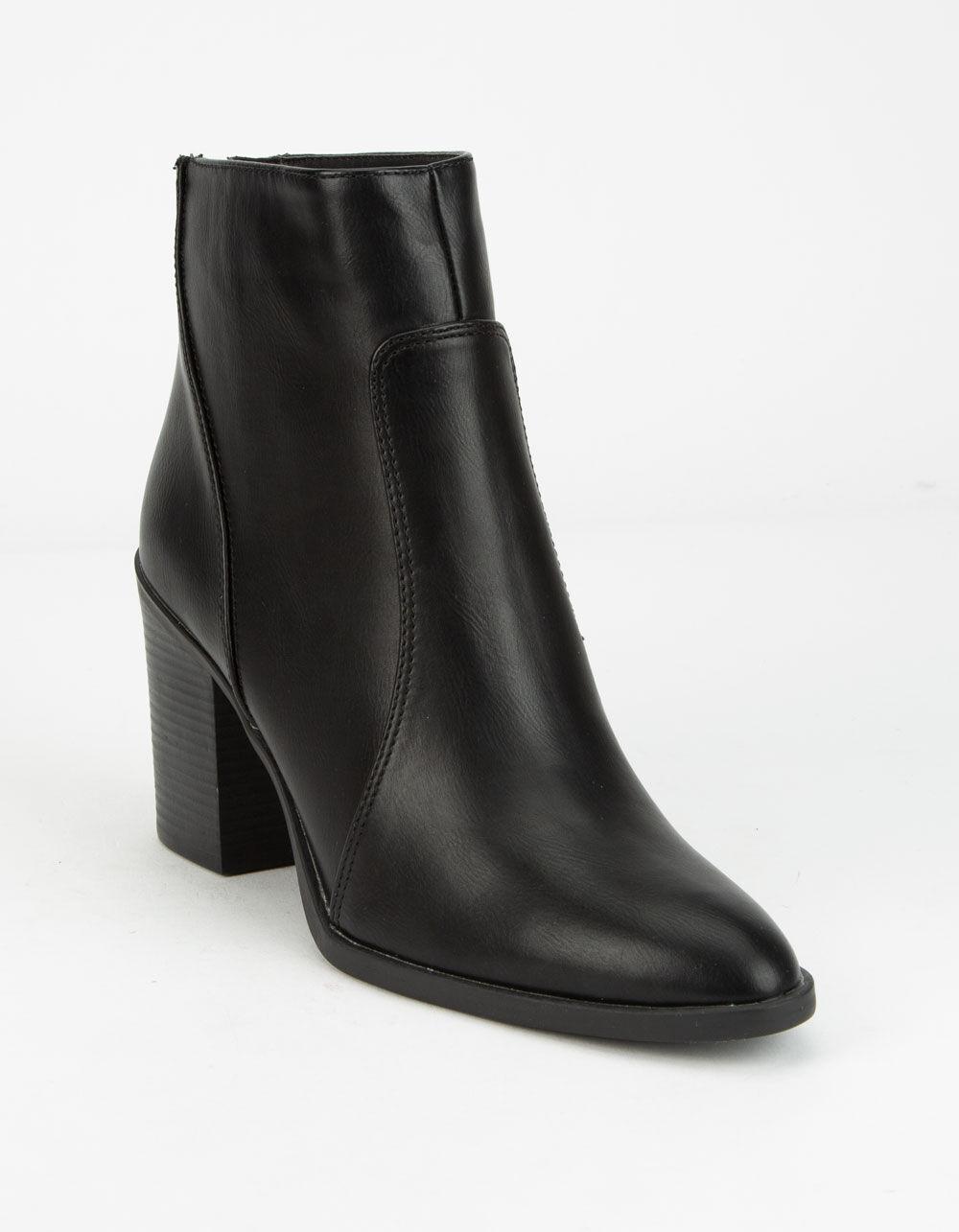 QUPID Block Heel Black Booties