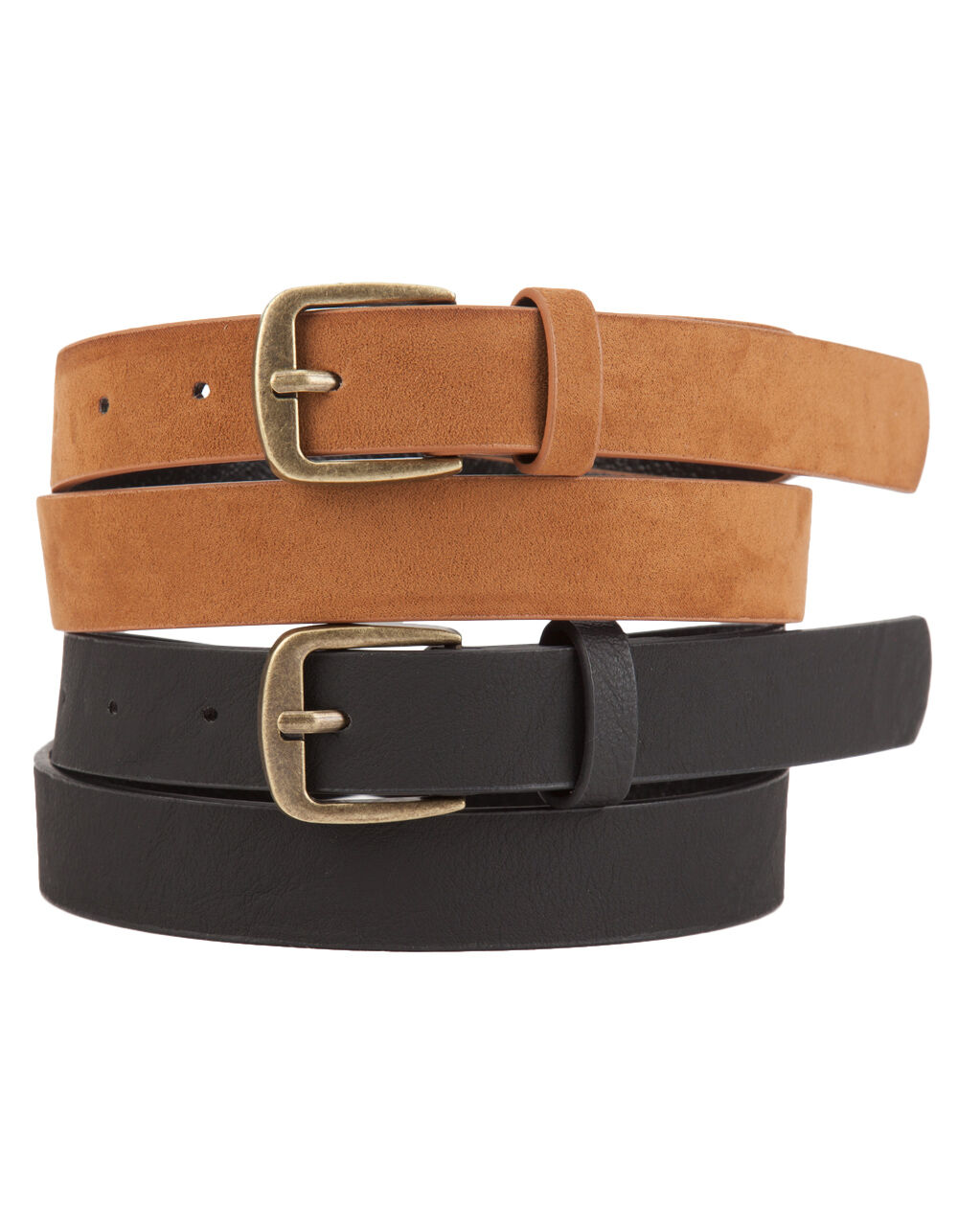 Image of 2 PACK FAUX LEATHER/SUEDE BELTS