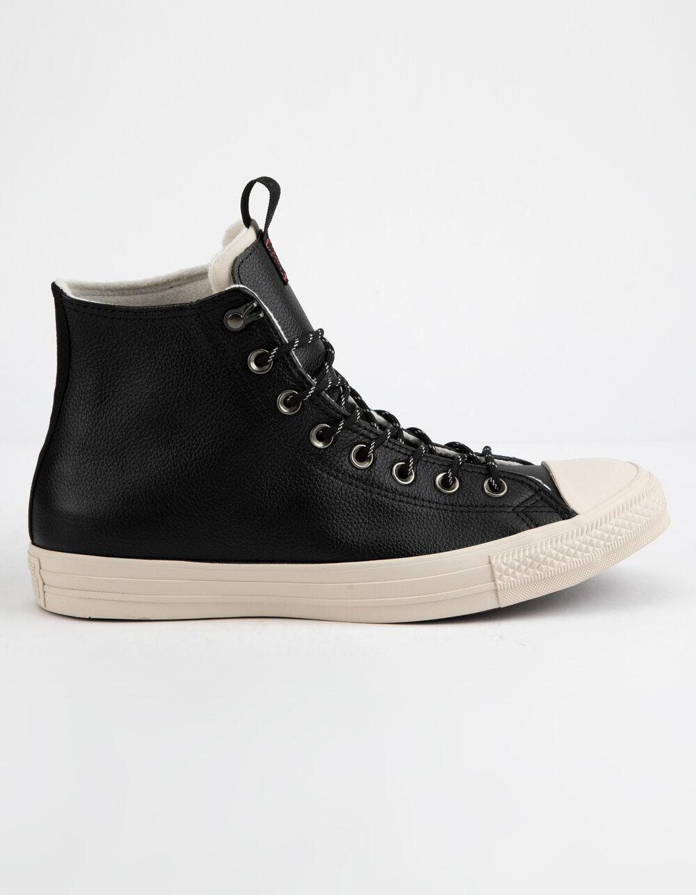 Image of CONVERSE CHUCK TAYLOR ALL STAR LEATHER BLACK & DRIFTWOOD HIGH TOP SHOES