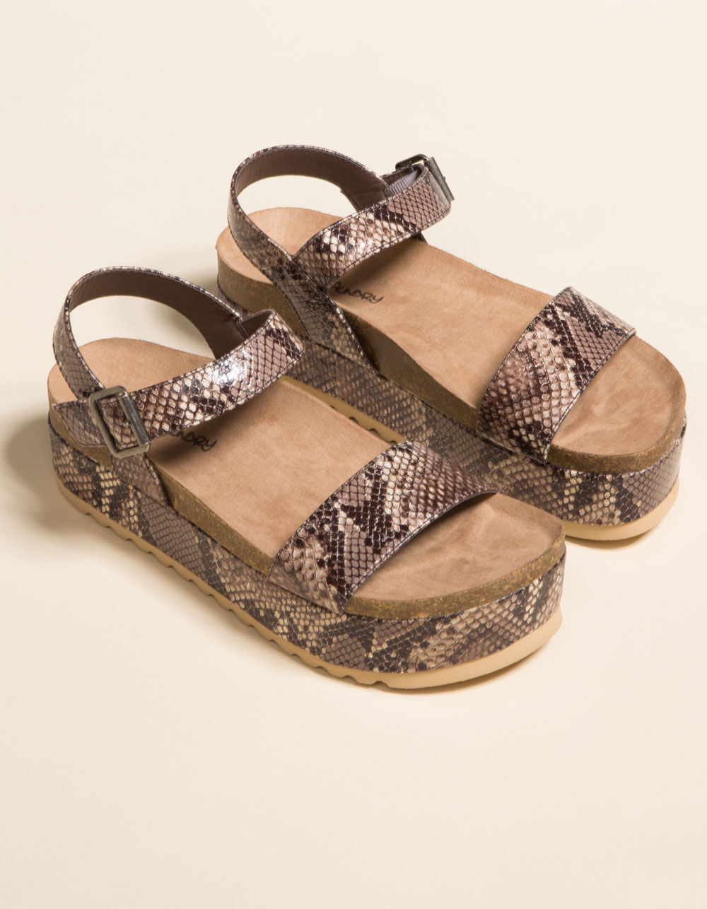 DIRTY LAUNDRY Palms Snake Flatform Sandals