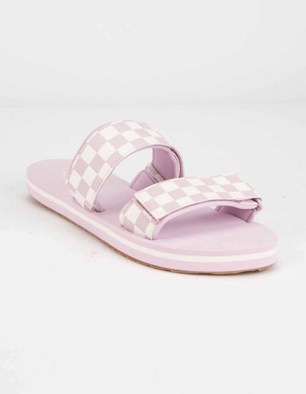 VANS Cayucas Checkerboard Lilac Velcro Slide Sandals