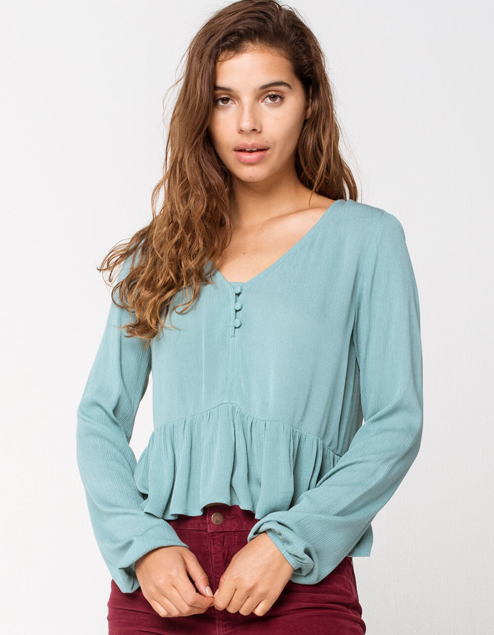 Image of MIMI CHICA Solid Henley Green Babydoll Top