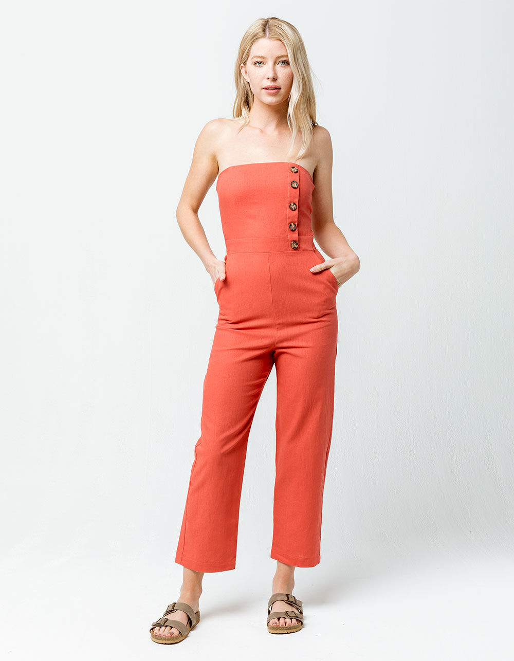 SOCIAL GYPSY Structured Button Front Tube Coral Jumpsuit