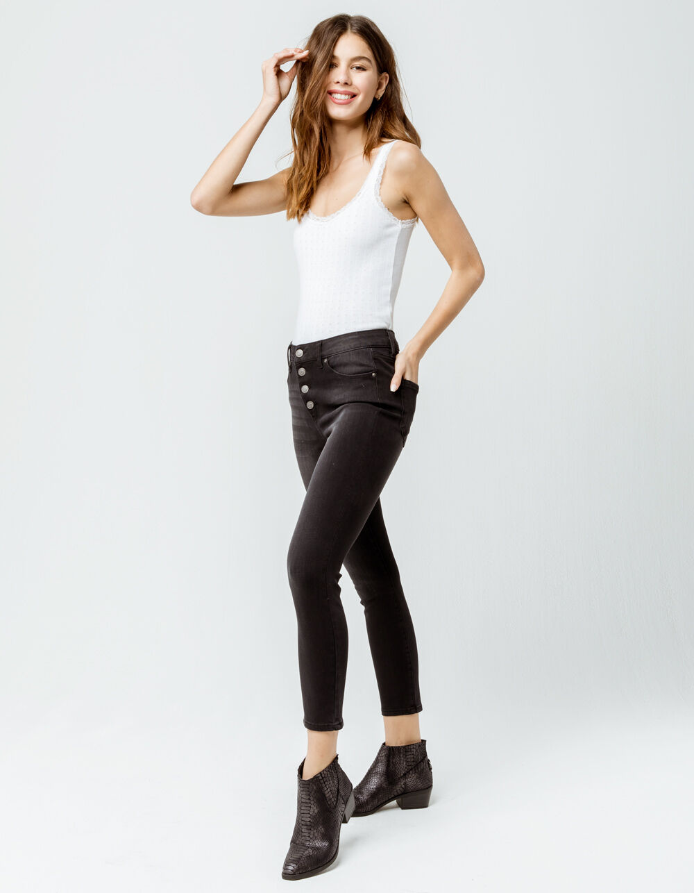 RSQ High Rise Ankle Wash Black Skinny Jeans