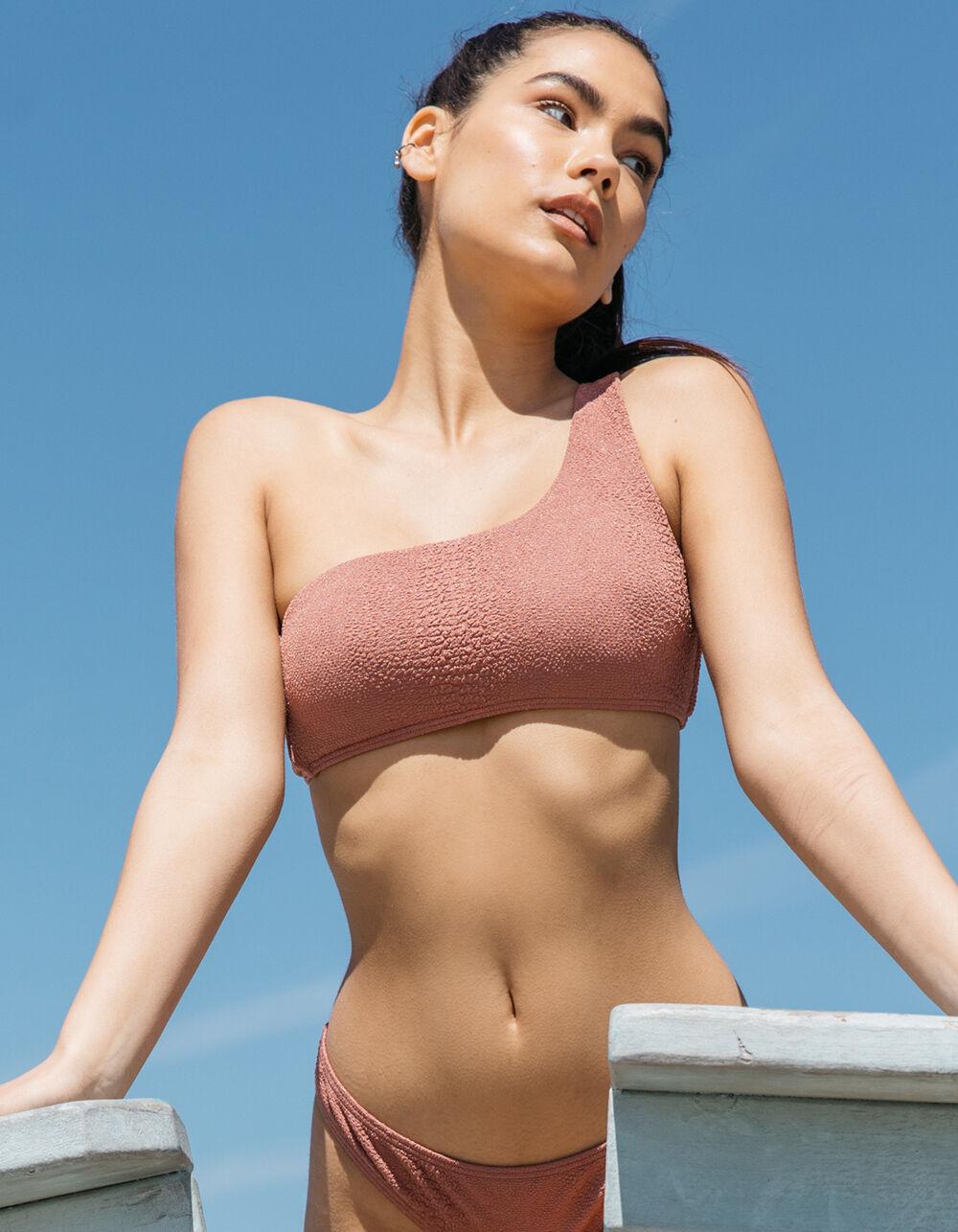 DAMSEL Croc Textured One Shoulder Bikini Top