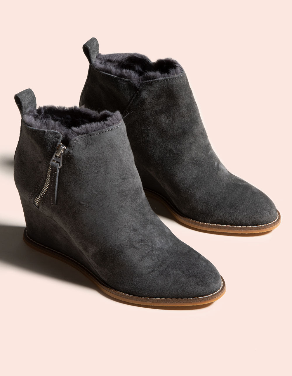 DOLCE VITA Gabby Anthracite Suede Wedge Booties