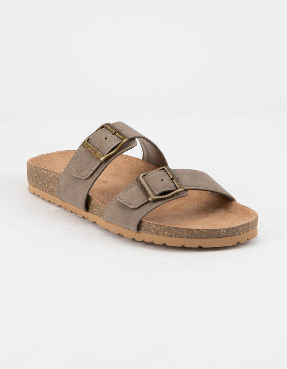 SODA Double Buckle Taupe Slide Sandals