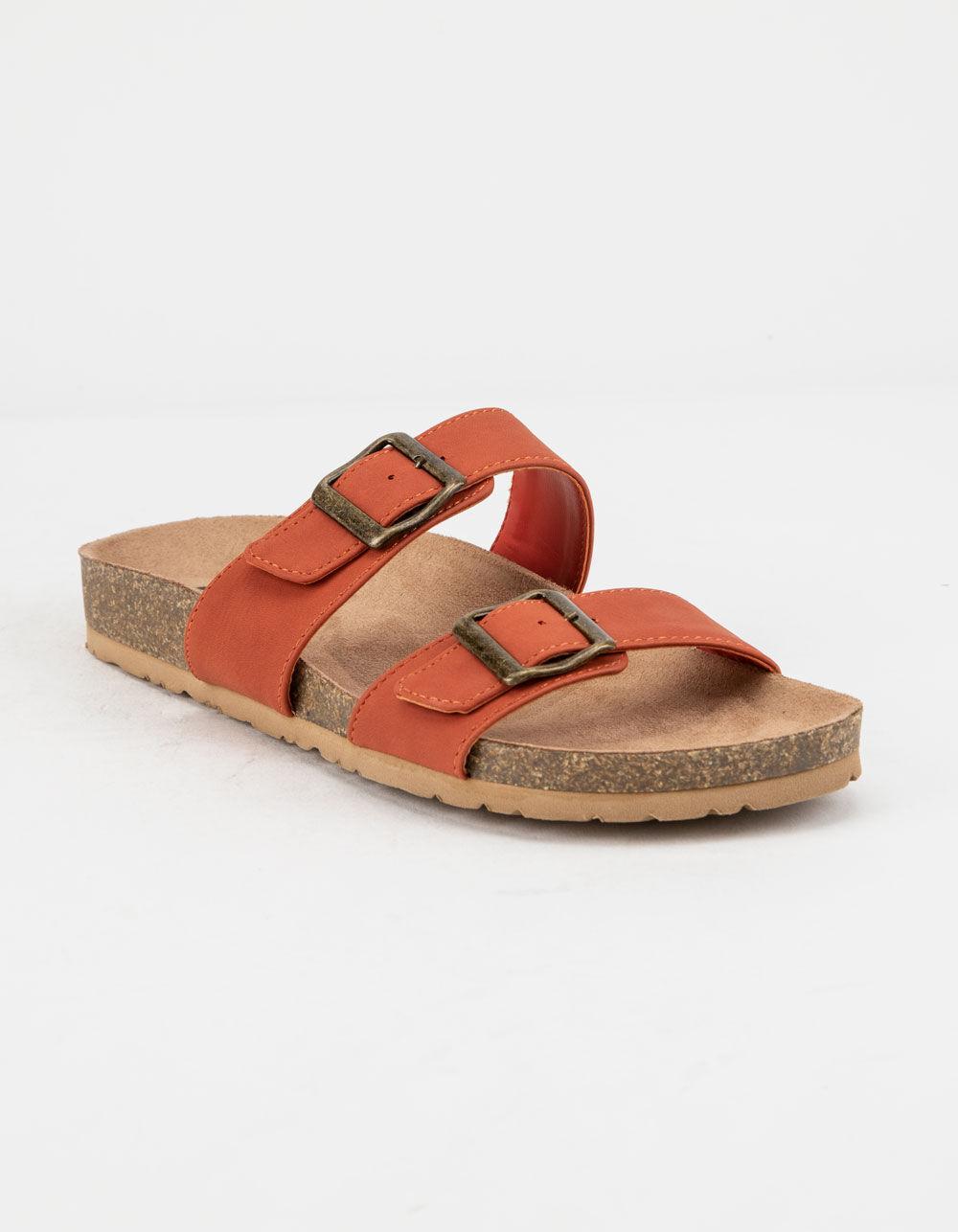 SODA Double Buckle Rust Slide Sandals