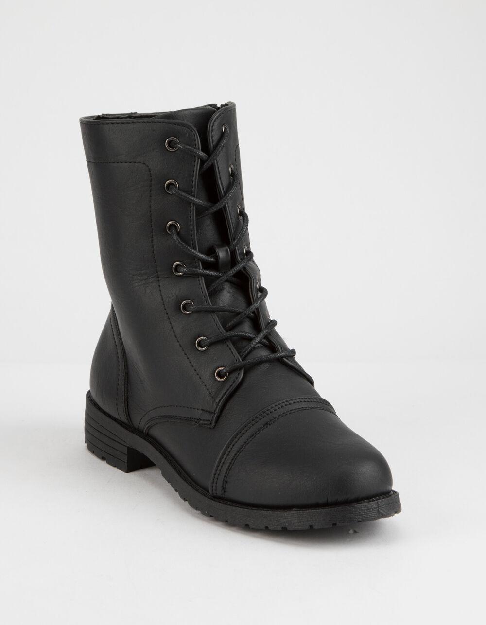 WILD DIVA Lace Up Black Combat Boots