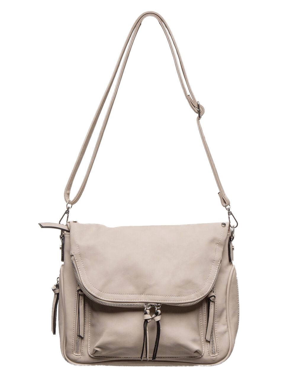 VIOLET RAY FOLDOVER LIGHT GREY CROSSBODY BAG