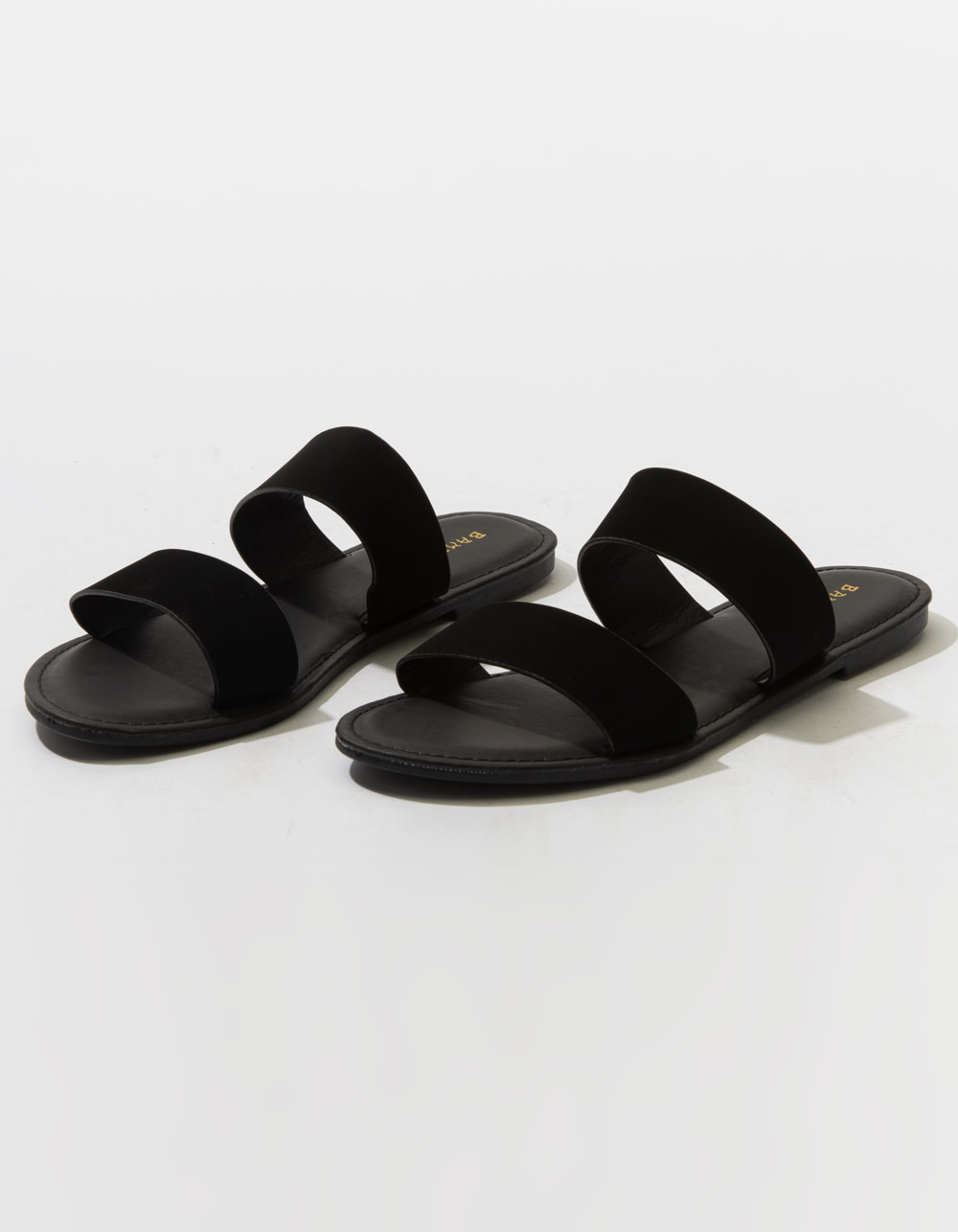 BAMBOO Double Strap Black Sandals