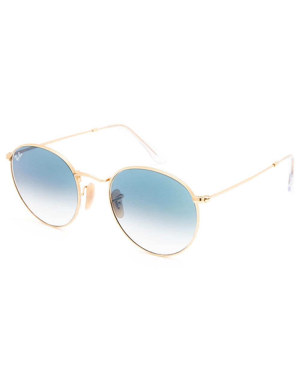 RAY-BAN Round Flat Lenses Light Blue Gradient & Gold Sunglasses