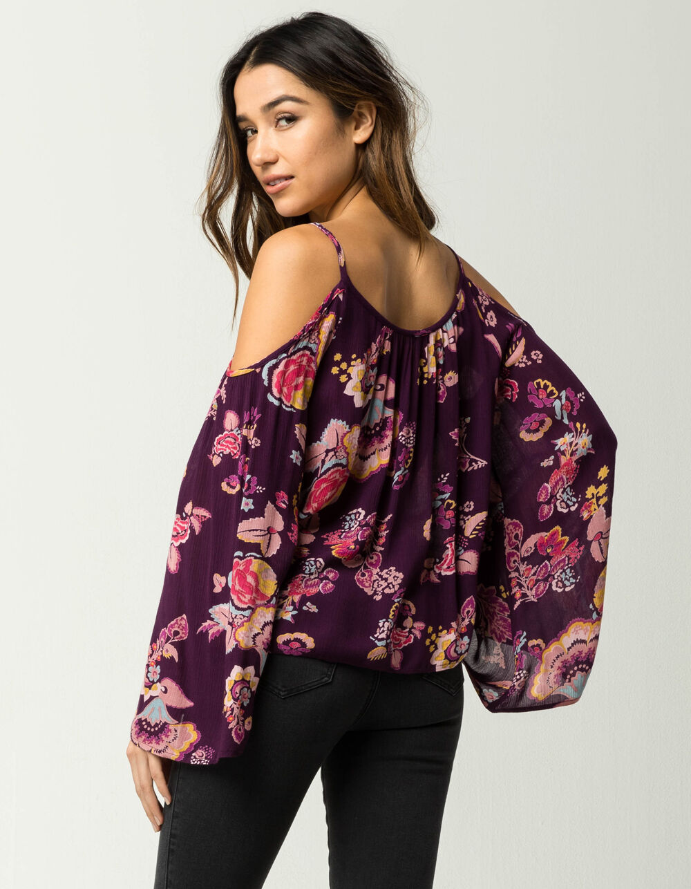 PATRONS OF PEACE Floral Tassel Cold Shoulder Top