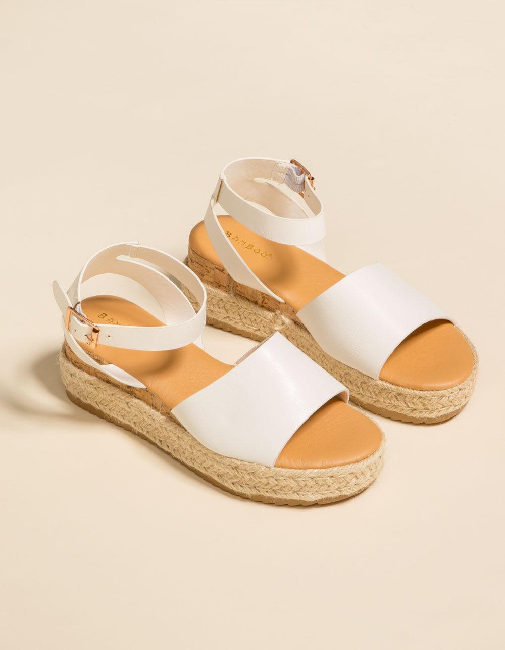 BAMBOO Jute Ankle Wrap White Espadrille Flatform Sandals