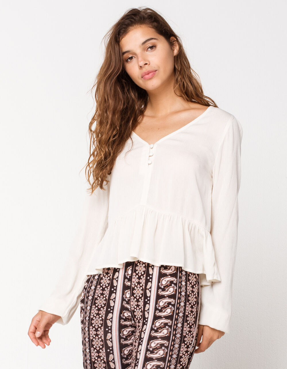 Image of MIMI CHICA Solid Henley Babydoll Top