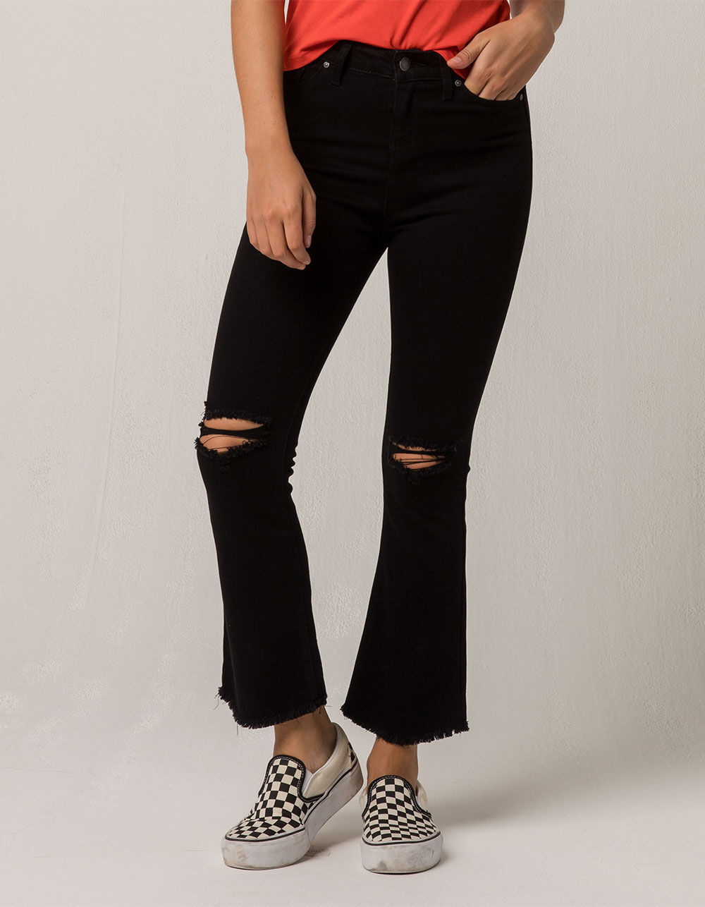 IVY & MAIN Kick Crop Ripped Flare Jeans