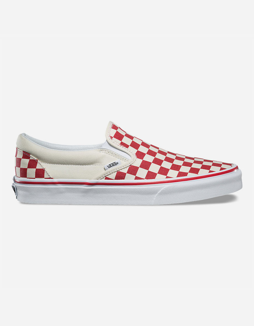 VANS PRIMARY CHECK SLIP-ON RED & WHITE SHOES