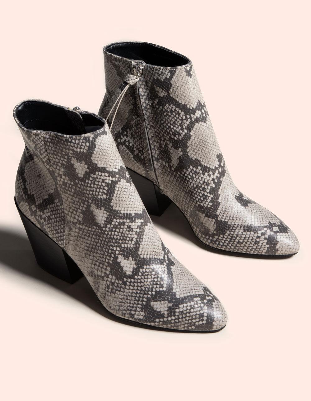 DOLCE VITA Perilla Snake Block Heel Black & White Booties