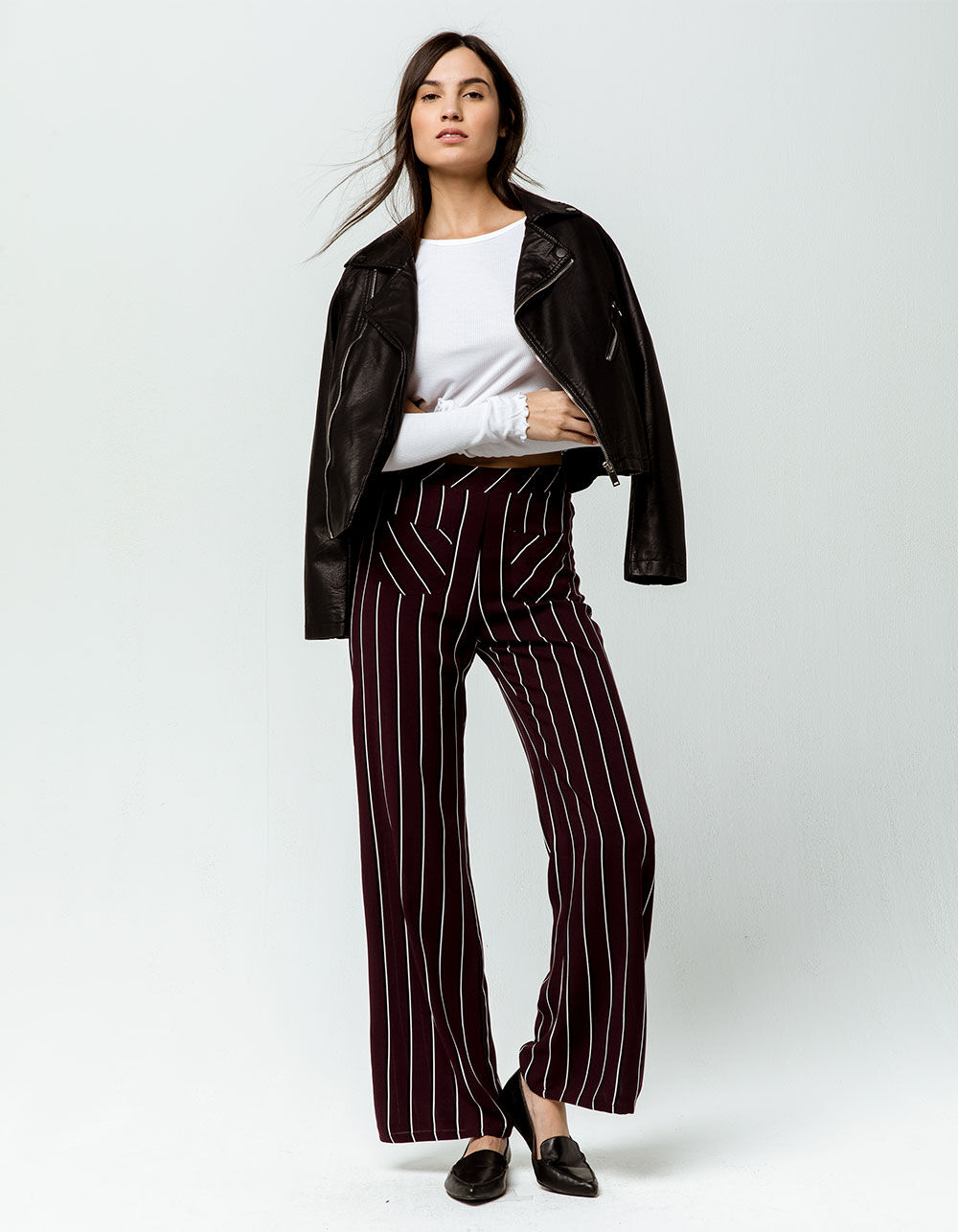 SKY AND SPARROW Pocket Front Stripe Wide Leg Pants
