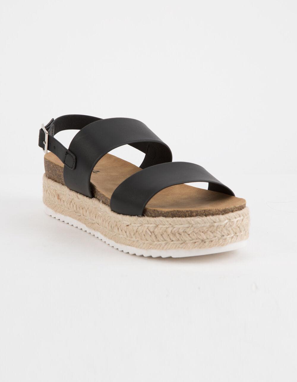 SODA 2 Strap Black Espadrille Flatform Sandals