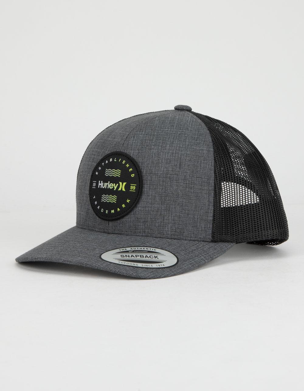 HURLEY Trademark Gray & Black Trucker Hat