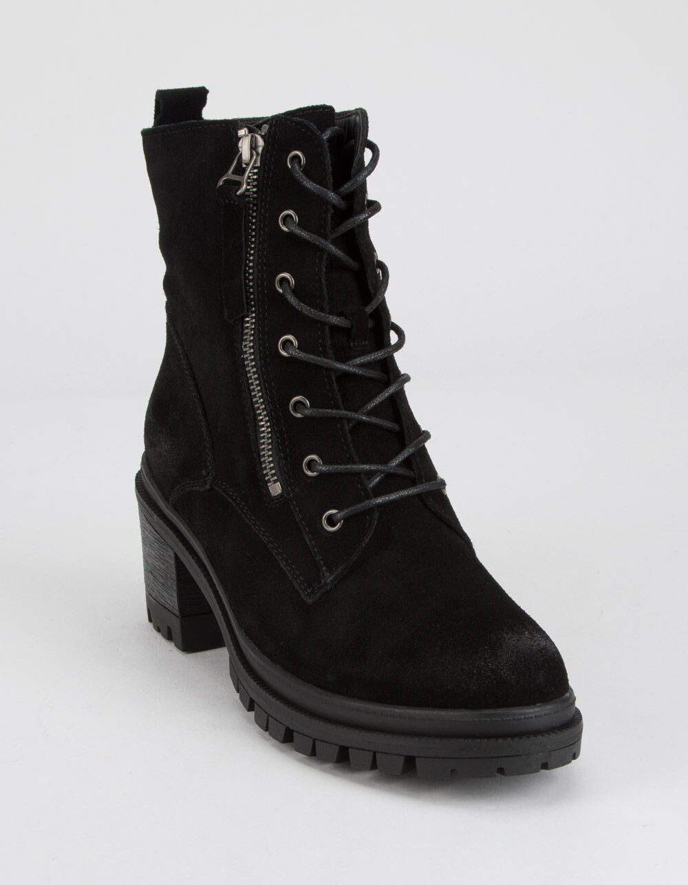 WILD DIVA Suede Lace Up Lug Boots