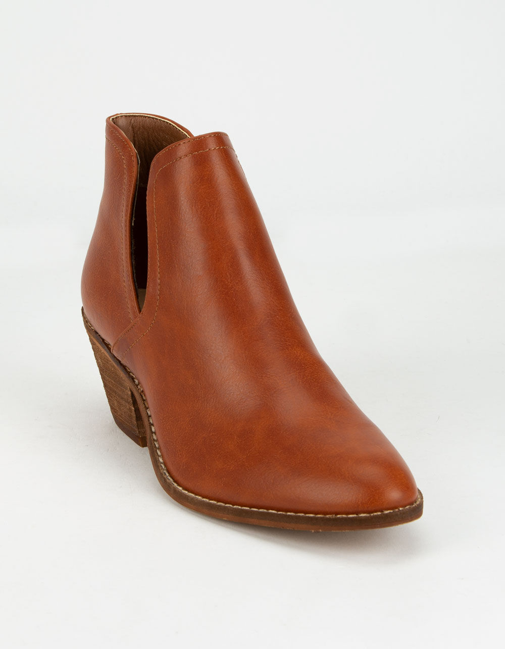 BEAST FASHION Chop Out Cognac Booties