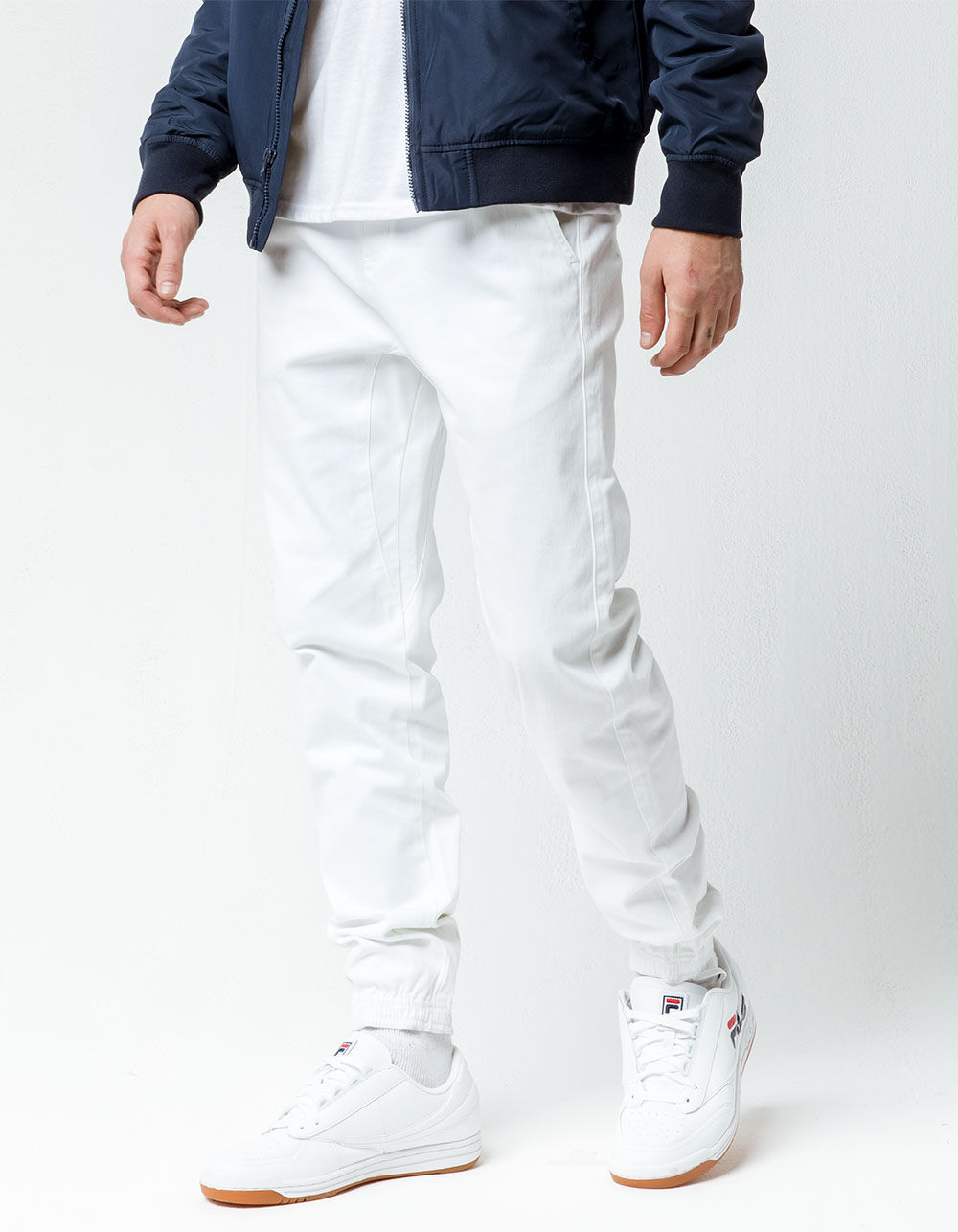 CHARLES AND A HALF Soft White Twill Jogger Pants