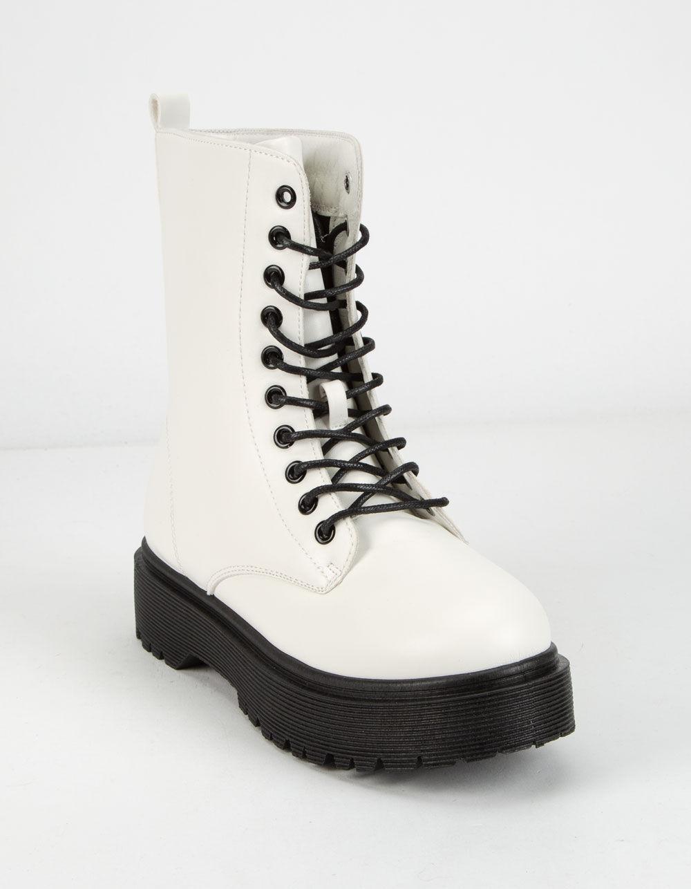 WILD DIVA Lug Sole Lace Up White Combat Boots