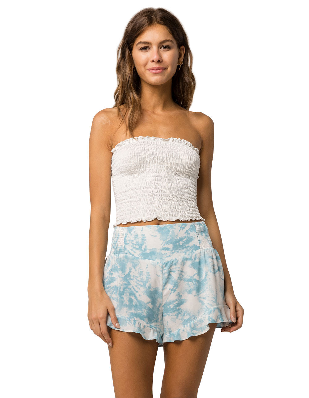 SKY AND SPARROW RUFFLE TIE DYE SHORTS
