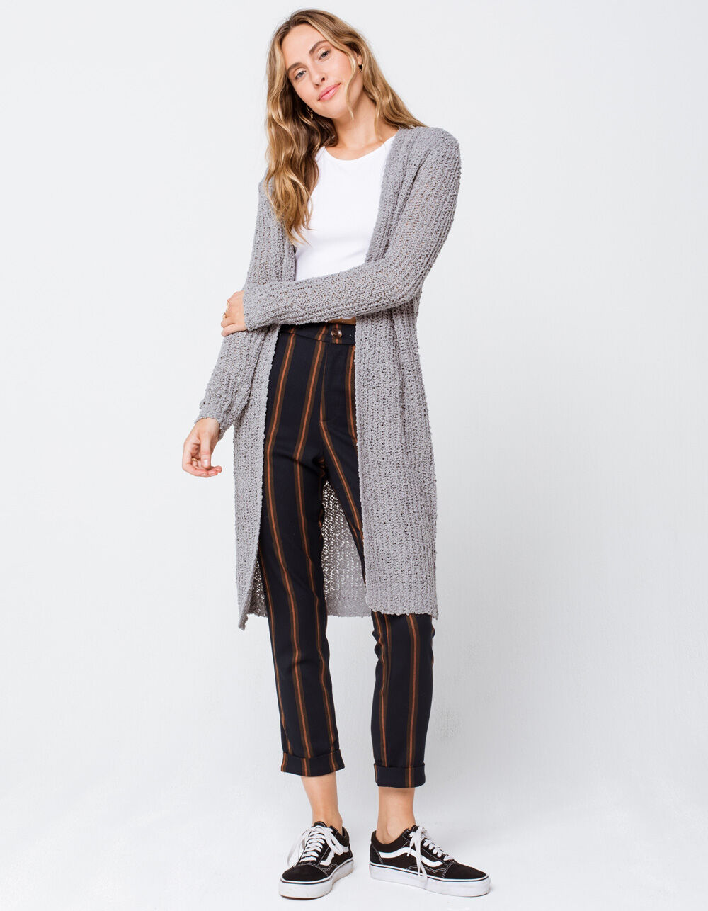 Image of MIMI CHICA Textured Knit Drop Shoulder Gray Cardigan