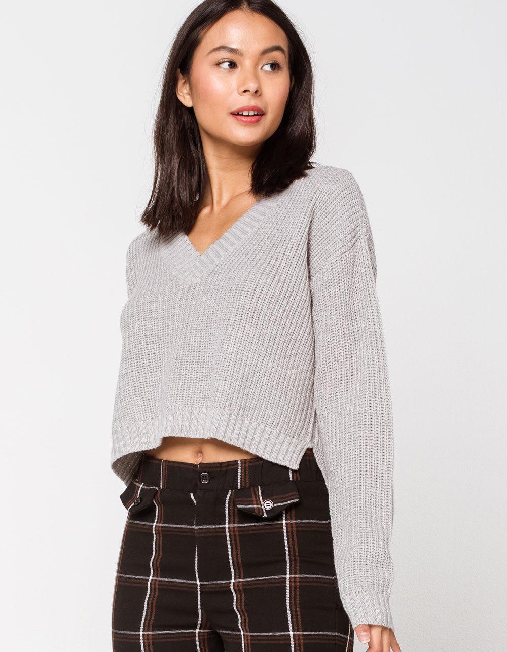 RETROD V-Neck Heather Gray Crop Sweater