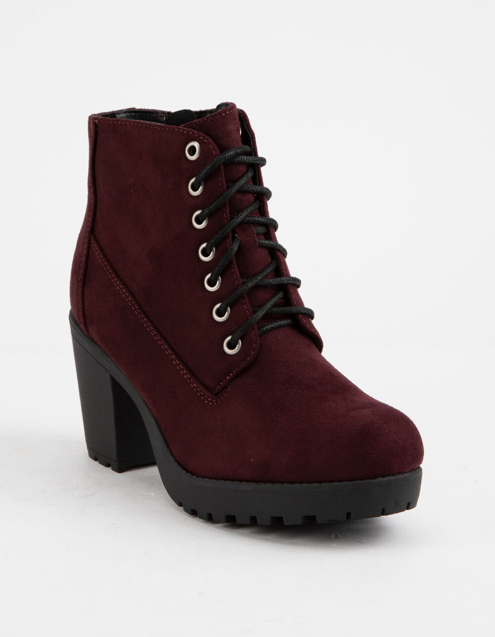 SODA Lug Sole Lace Up Wine Booties